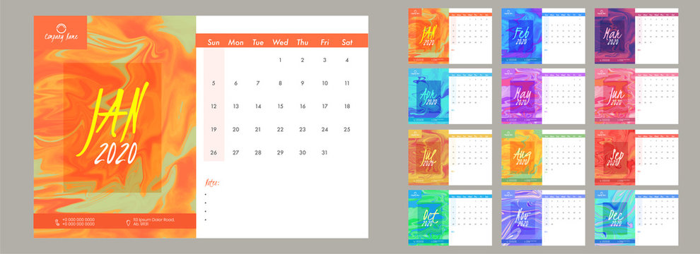 Complete set of 12 months for 2020 yearly calendar design with fluid art paint background.