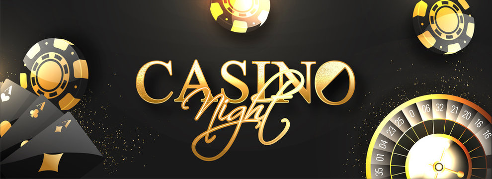 Website header or banner design with golden text Casino Night, roulette wheel, poker chips and playing cards decorated on black background.