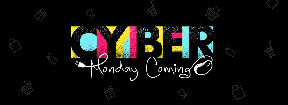 Colorful stylish text Cyber Monday Coming with wired mouse illustration on black shopping pattern background for Advertising concept.