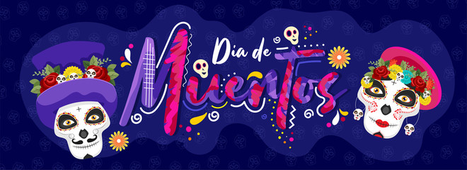 Creative text of Dia De Muertos with sugar skulls on blue skull pattern background for Day of the dead. Header or banner design.