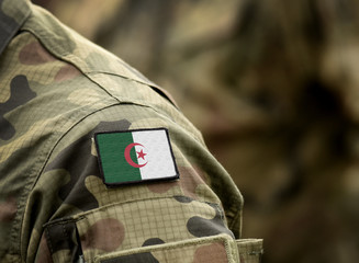 Flag of Algeria on military uniform. Army, troops, soldiers, Africa,(collage).