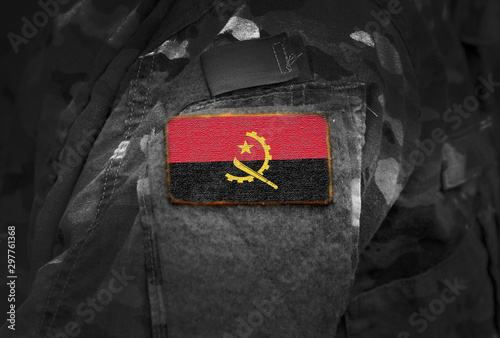 Flag of Angola on military uniform. Army, troops, soldiers, Africa,(collage).