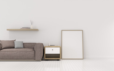 View of living room space with sofa set and blank picture frame on white wall. Perspective of minimal Interior design. 3d rendering.