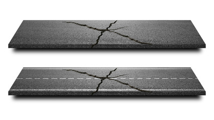 Broken of Asphalt road isolated in pure white background. Straight highway of cracked road lane for transportation or construction. ( Clipping path )