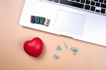 Love word made from colorful wooden alphabet letters