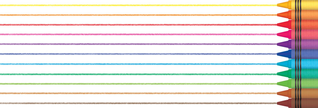 Wax crayons draw lines. Panoramic illustration with colorful stripes.