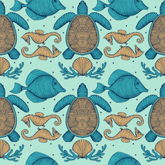 Vintage Hand drawn Seamless pattern with sea creatures. Sea life background. Decorative wallpaper