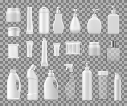 Cosmetics containers, plastic and glass bottles