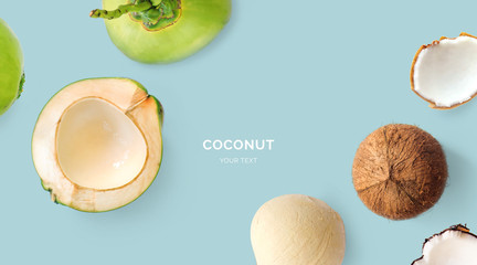 Creative layout made of coconuts.  Tropical flat lay. Food concept.