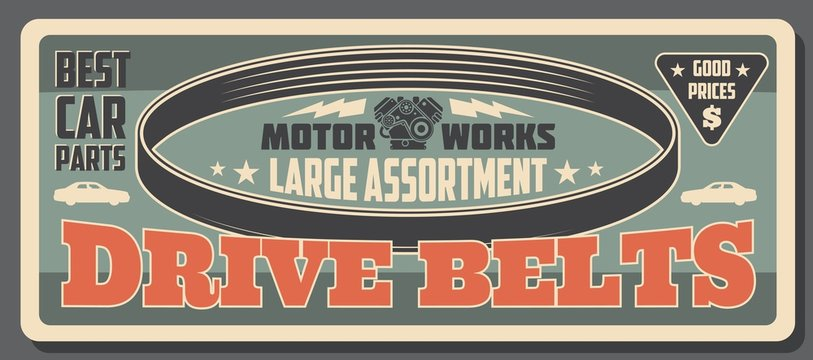 Car service, vehicle engine drive belt parts