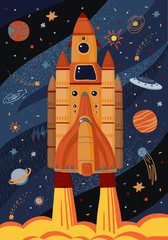 Vector illustration of a rocket in space with planets and stars for background, card or poster. A comic ship is flying in the sky. Start up template.