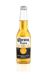 bottle of Corona Extra beer isolated on white background. beer bottle with waters drops. Corona is made in Mexico and is the top selling imported beer in the United States. 12.12.2017, Rostov-on-Don.
