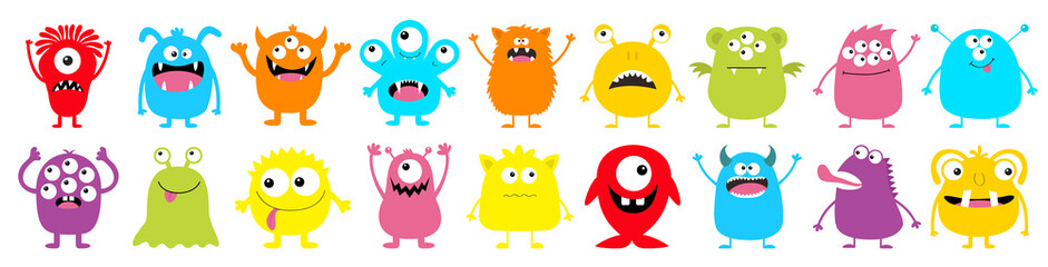 Happy Halloween. Monster colorful round silhouette icon super big set line. Eyes, tongue, tooth fang, hands up. Cute cartoon kawaii scary funny baby character.White background. Flat design.