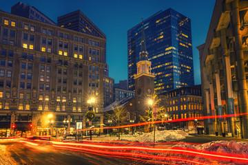 Boston downtown at winter night Fotomurales