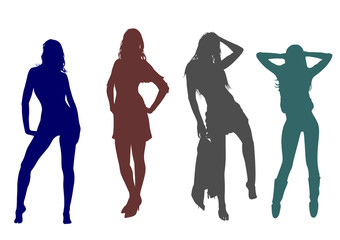 Silhouettes of a group of slender  tall girls with long legs and developing hair posing for the photographer