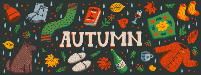 Autumn horizontal banner or social media cover. Autumn essentials warm clothes, autumn berries and leaves, book, ets. Fall season elements on dark background. Flat style hand drawn vector illustration