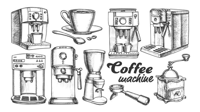 Coffee Machine, Holder And Cup Retro Set Vector. Portafilter, Manual Grinder And Mug With Hot Drink Machine Details. Engraving Concept Template Designed In Vintage Style Monochrome Illustrations