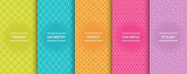 Tuinposter Kunstmatig Collection of colorful geometric simple seamless patterns - bright symmetric textures. Vector repeatable minimalistic backgrounds