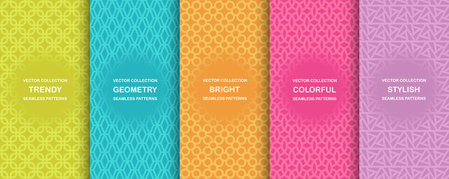 Collection of colorful geometric simple seamless patterns - bright symmetric textures. Vector repeatable minimalistic backgrounds