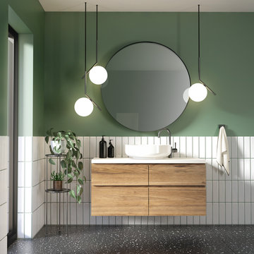 Green and white modern contemporary bathroom with black terrazzo floor