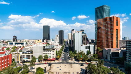 Skyline of the business district of Mexico City Papier Peint