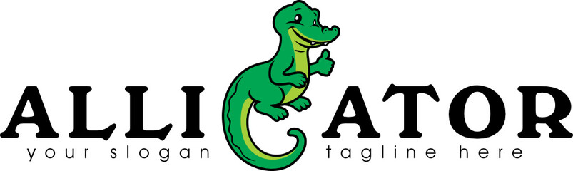 Funny alligator for logotype design