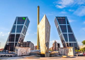 Madrid, Spain - June 2019: Gate of Europe (Puerta de Europa) - twin tilting office buildings in Madrid