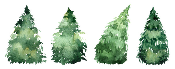 Set of watercolor christmas trees, hand drawn on a white background. Christmas card. Wall mural