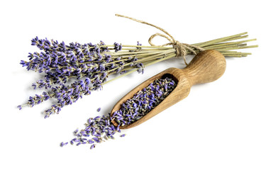 Tuinposter Lavendel Lavender bunch and wooden scoop with dry flower buds on white background.
