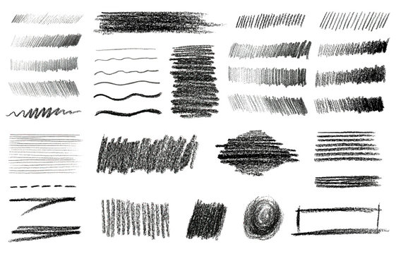 Charcoal and Graphite Pencil Art Brushes Vector Set.