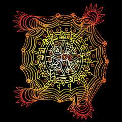Flower mandala. Decorative round elements, doodle