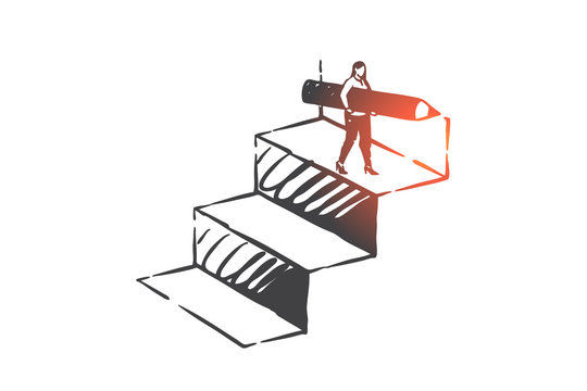 Personal development, career ladder, self improvement concept sketch. Hand drawn isolated vector