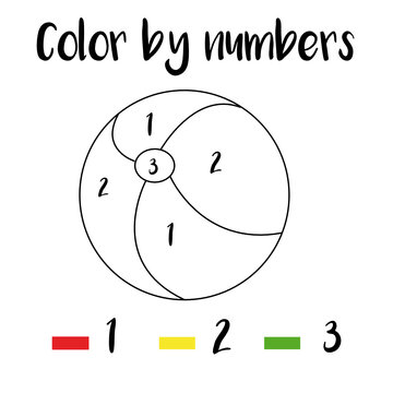 Preschool Counting Activities. Coloring page with colorful toy ball. Color by numbers, printable worksheet. Educational game for children, toddlers and kids pre school age.