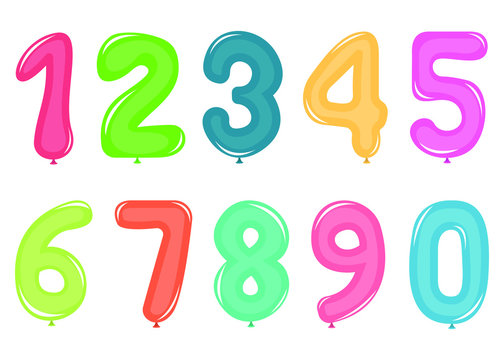 Balloon numbers vector design illustration isolated on white background