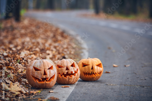 Three Halloween Pumpkins on the side of the road in the forest