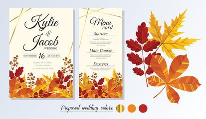 Wedding Invitation, menu card. Leaves design autumn foliage collection oak, maple, chestnut and ash. Decorative frame print. Vector elegant cute rustic greeting, invite postcard. Wall mural