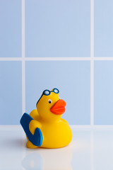Yellow rubber duck with surfboard
