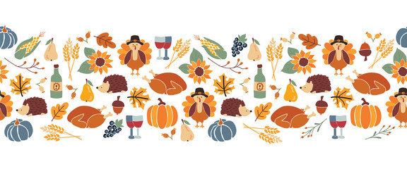 Vector border Thanksgiving. Seamless Autumn food roast turkey corn wine pumpkin family dinner greeting card repeating pattern design. Harvest festival. Fall party invitation banner. Happy Thanksgiving