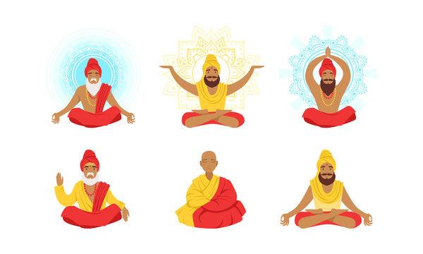 Yogi Men Characters Set, Meditating People in Yoga Lotus Poses Vector Illustration