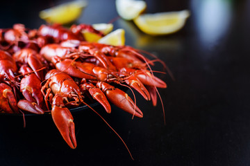 red crawfish with lemon on dark wood table