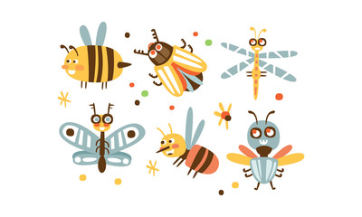 Wall Mural - Cute Insects Set, Bee, Colorado Potato Beetle, Dragonfly, Butterfly, Wasp, Fly Childish Prints Vector Illustration