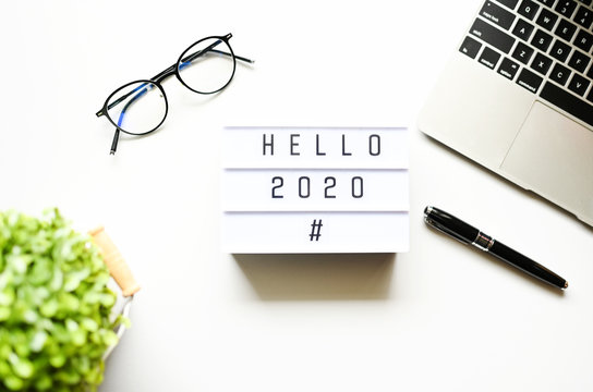 HELLO 2020 Business Concept ,minimal style