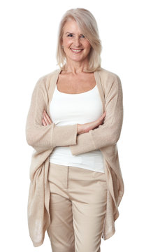Friendly smiling middle-aged woman isolated on white