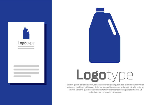 Blue Household chemicals blank plastic bottle icon isolated on white background. Liquid detergent or soap, stain remover, laundry bleach. Logo design template element. Vector Illustration