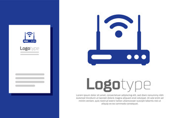 Blue Router and wi-fi signal symbol icon isolated on white background. Wireless ethernet modem router. Computer technology internet. Logo design template element. Vector Illustration