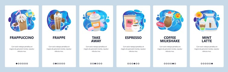 Mobile app onboarding screens. Coffee drinks, espresso, frappe, cup of coffee take away, cafe menu. Menu vector banner template for website and mobile development. Web site design flat illustration