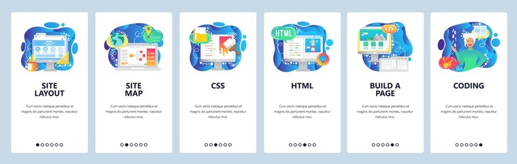 Wall Mural - Mobile app onboarding screens. Female software engineer, html and css coding, build a site. Menu vector banner template for website and mobile development. Web design flat illustration