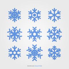 Season snowflake silhouette vector set