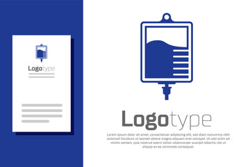 Blue IV bag icon isolated on white background. Blood bag icon. Donate blood concept. The concept of treatment and therapy, chemotherapy. Logo design template element. Vector Illustration