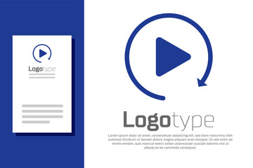 Blue Video play button like simple replay icon isolated on white background. Logo design template element. Vector Illustration